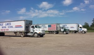 Trucks used for our class A CDL training classes near Medina, OH